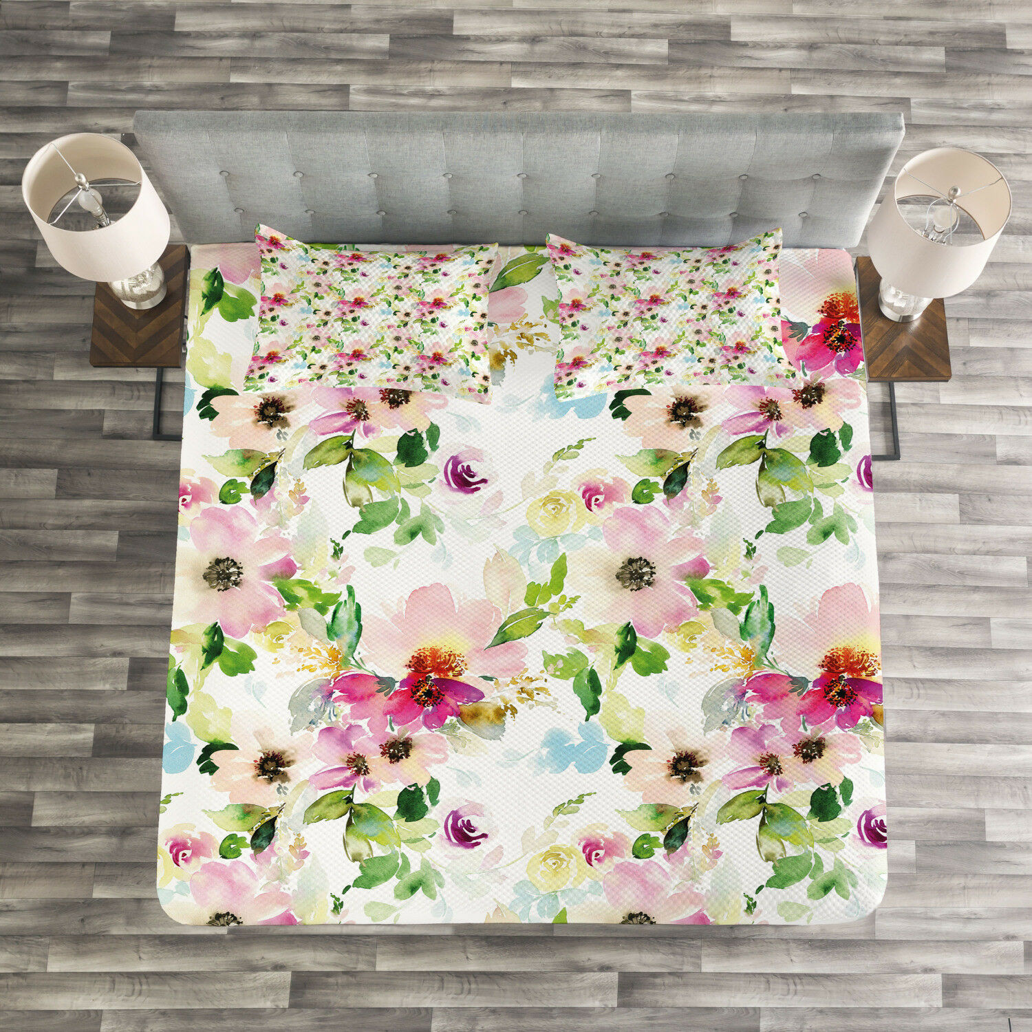 Floral Quilted Bedspread & Pillow Shams Set, Spring Flowers Pastel Print