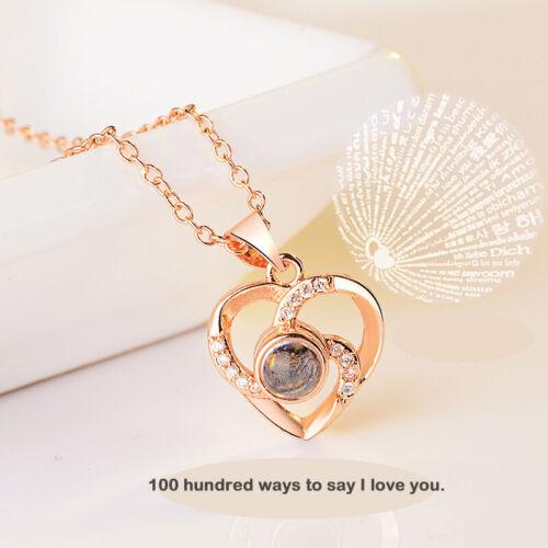 Forma de corazón 100 idioma dice te amo Colgante Collar Cadena para Mujeres Plata 925