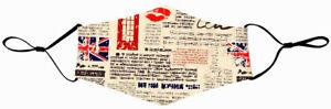 Masque Tissu Londres Réutilisable Lavable Fixations Réglables Poche à Filtre