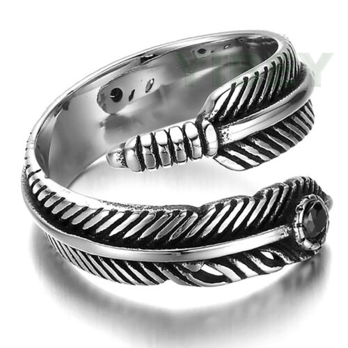 Stainless Steel Peacock Feather Ring With Black CZ Stone Punk Japan GORO Sz 8-13