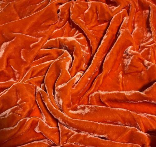 Hand Dyed DEEP ORANGE Silk VELVET Fabric