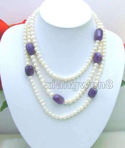 """Long 60/"""" Rond Blanc naturel collier de perles pour femmes /& baroque améthyste n5268"""