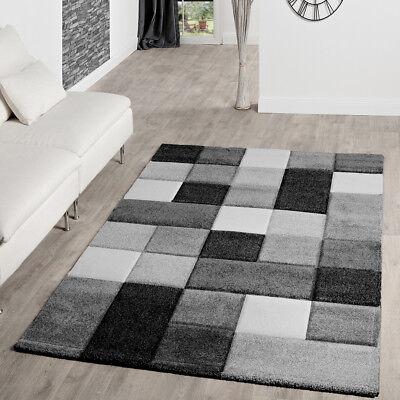 Tapis Salon Moderne Motif À Carreaux Avec Découpe Des Contours Gris Noir  Blanc