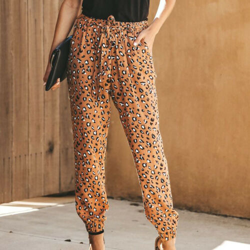 Women Elastic Waist Leopard Casual Baggy Harem Pants Summer Beach Long Trousers
