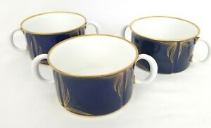 SET-OF-3-ECHT-WEIMAR-KOBALT-SOUP-MUG-CUP-BLUE-GOLD-GERMANY-PORCELAIN