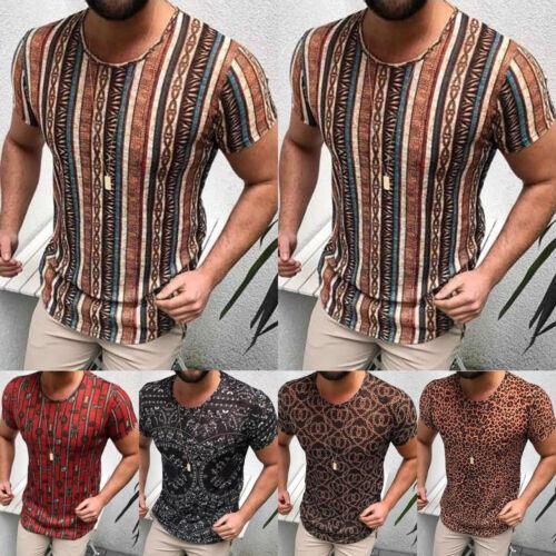 Men Short Sleeve TEE Shirt Slim Print Casual Blouse Top Summer Clothing Muscle