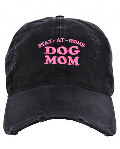 d3d6bc6a3f4248 Black STAY AT HOME DOG MOM Factory Distressed Vintage Cap Hat ...