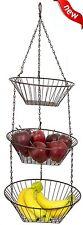 3-Tier Wire Hanging Basket Fruit Vegetable Organizer Storage Kitchen Counter NEW