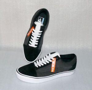 Details zu Vans OLD SKOOL Lite Rau Leder Herren Schuhe Freizeit Sneaker 42 US9 Schwarz Weiß
