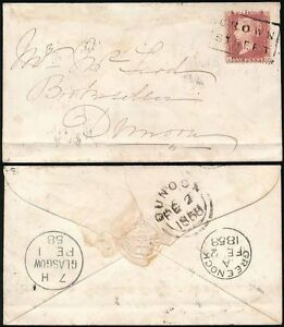 PENNY RED 1858 SCOTS LOCAL BOXED USED as CANCEL...CROWN STREET to DUNOON