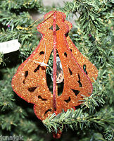 Pier 1 Imports 6 Lot Of 12 Glittered Copper 3-d Ornaments W/ Clear Gemstone