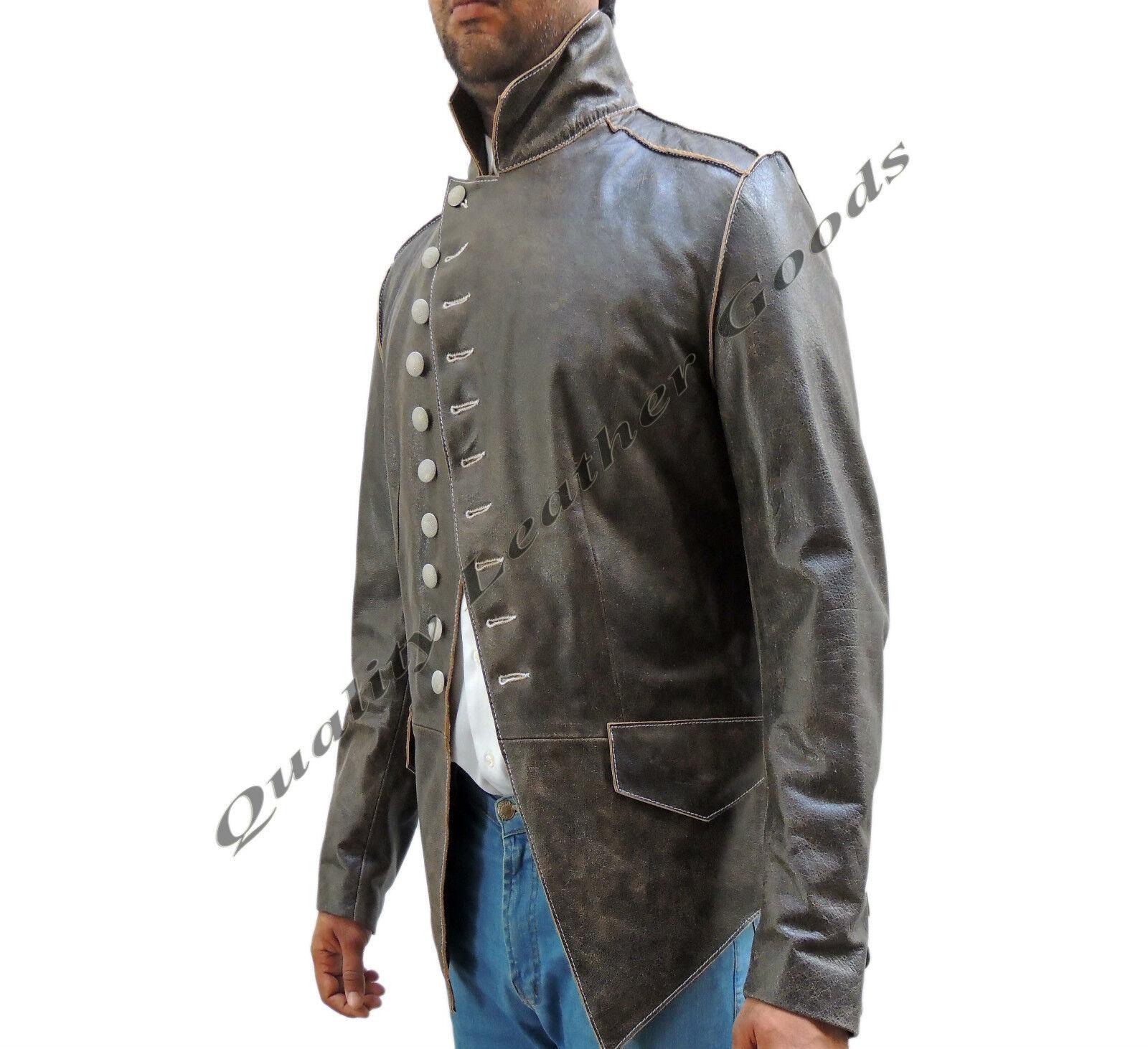 Artigianale Uomo Stile Militare Antico Pelle Marronee Steampunk Giacca BLUF