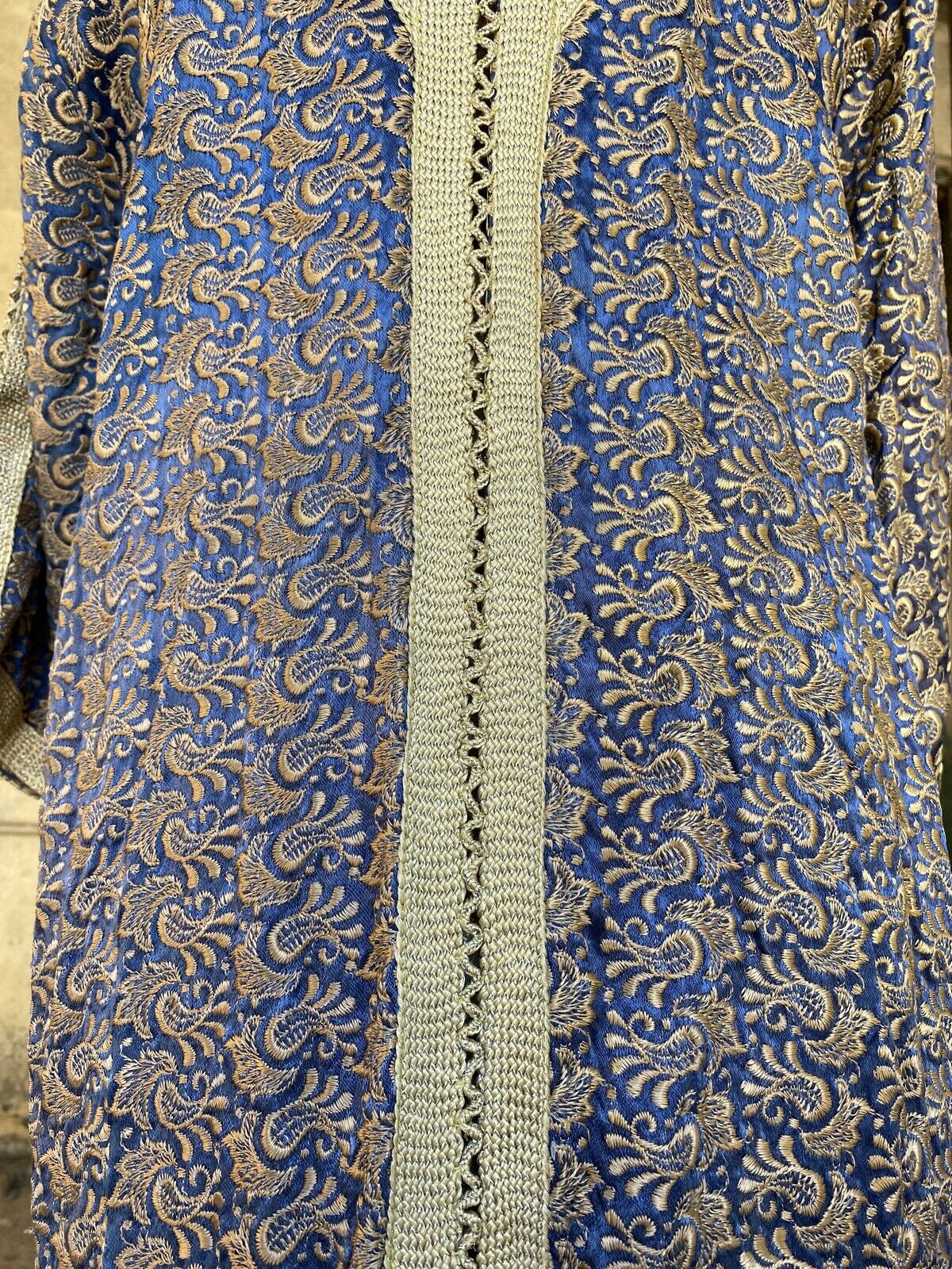 Antique 1920s 1930s Blue Silk Floral Embroidered … - image 10
