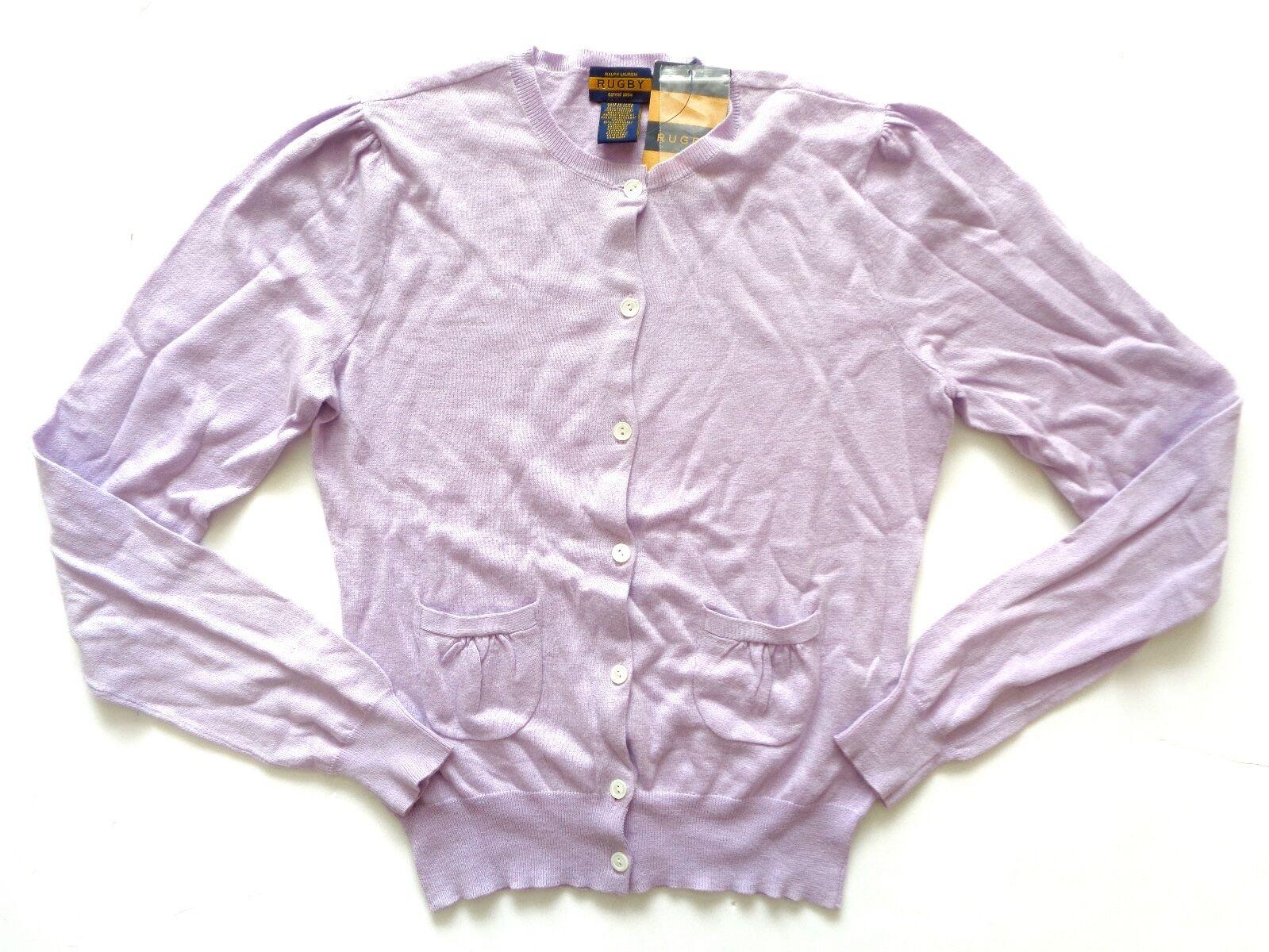 New Ralph Lauren Rugby Women's Cotton & Cashmere Cashmere Cashmere Purple Cardigan Sweater SLIM S 0eb08f