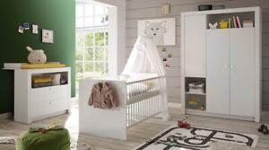 Babyzimmer Paula 3-tlg Komplettset Wickelkommode Bett Kleiderschrank Regal Weiss Hitze Und Durst Lindern. Möbel