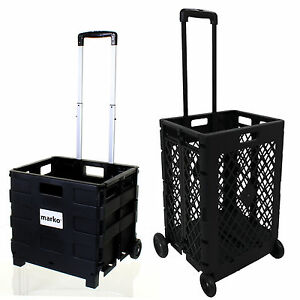 Charmant Image Is Loading FOLDING SHOPPING CART PLASTIC HEAVY DUTY CRATE TROLLEY