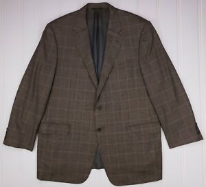 Hickey-Freeman-46L-Sport-Coat-Houndstooth-Multicolor-2-Button-Mens-Size-Brown-Sz
