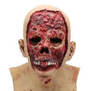 Bloody-Zombie-Mask-Melting-Face-Latex-Costume-Walking-Dead-Halloween-Scary-E8P6