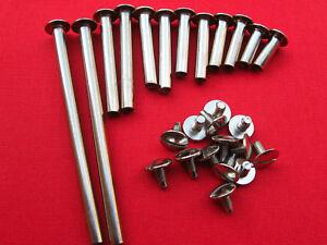 14 Stück Buchschrauben Vernickelt 80 mm Füllhöhe Schat 5 mm
