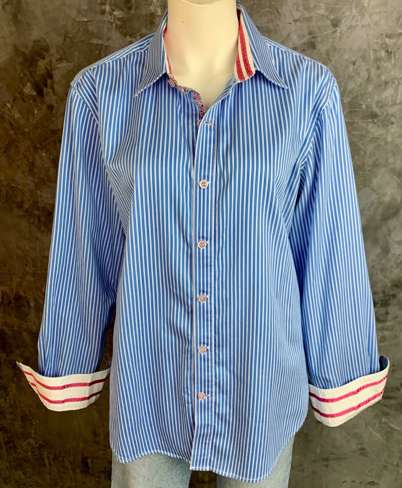 Robert Graham Mens Cotton Multi colord Striped Dress Shirt sz L (8594)