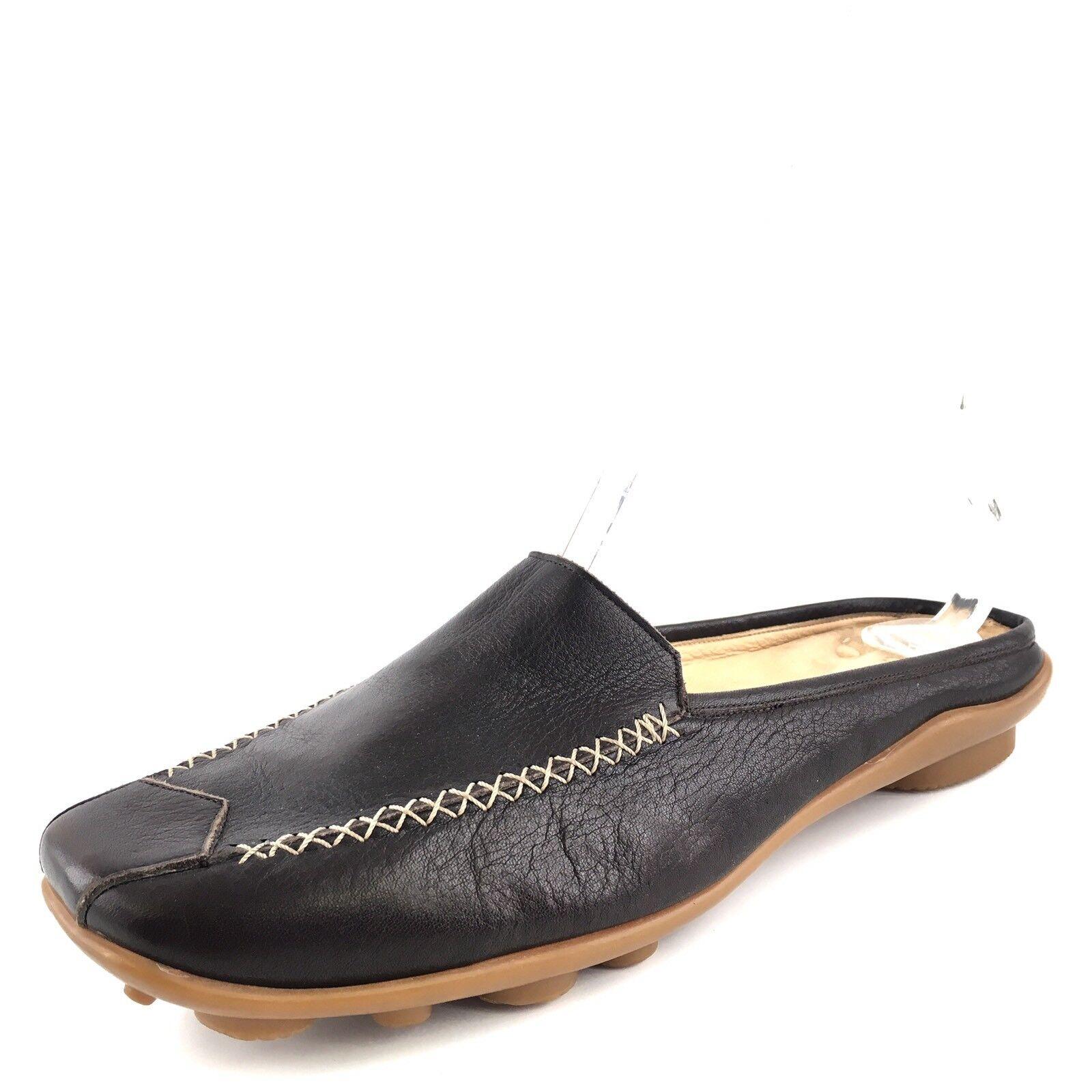 Gentle Souls Iso Black Leather Comfort Mules Slides Women's Size 41 M