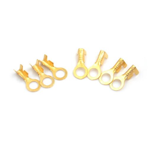 100 Pcs 5.2mm Gold Brass Round Terminal Power Supply Wire Connector LD