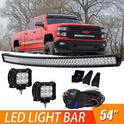 For Ford F150 54 Curved Work Led Light Bar Spot Flood Mount Bracket Ebay