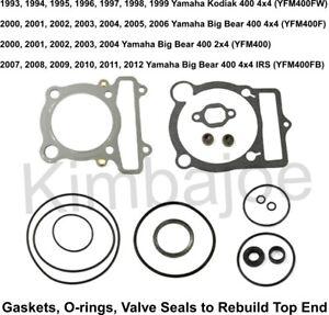 Top End Gasket Set /& Valve Seals Yamaha Kodiak 400 1999