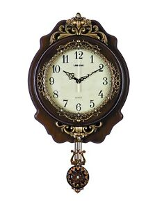 Ornate Hand Painted Brown And Gold Pendulum Wall Clock By