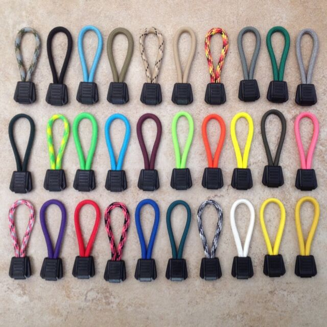 Paracord Zipper Pulls with Plastic Pull Tab (Tie On Type) You Choose Color