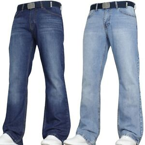 VON-DENIM-New-Mens-Bootcut-Flared-Wide-Leg-Pants-Smart-Belt-Jeans-Big-All-sizes