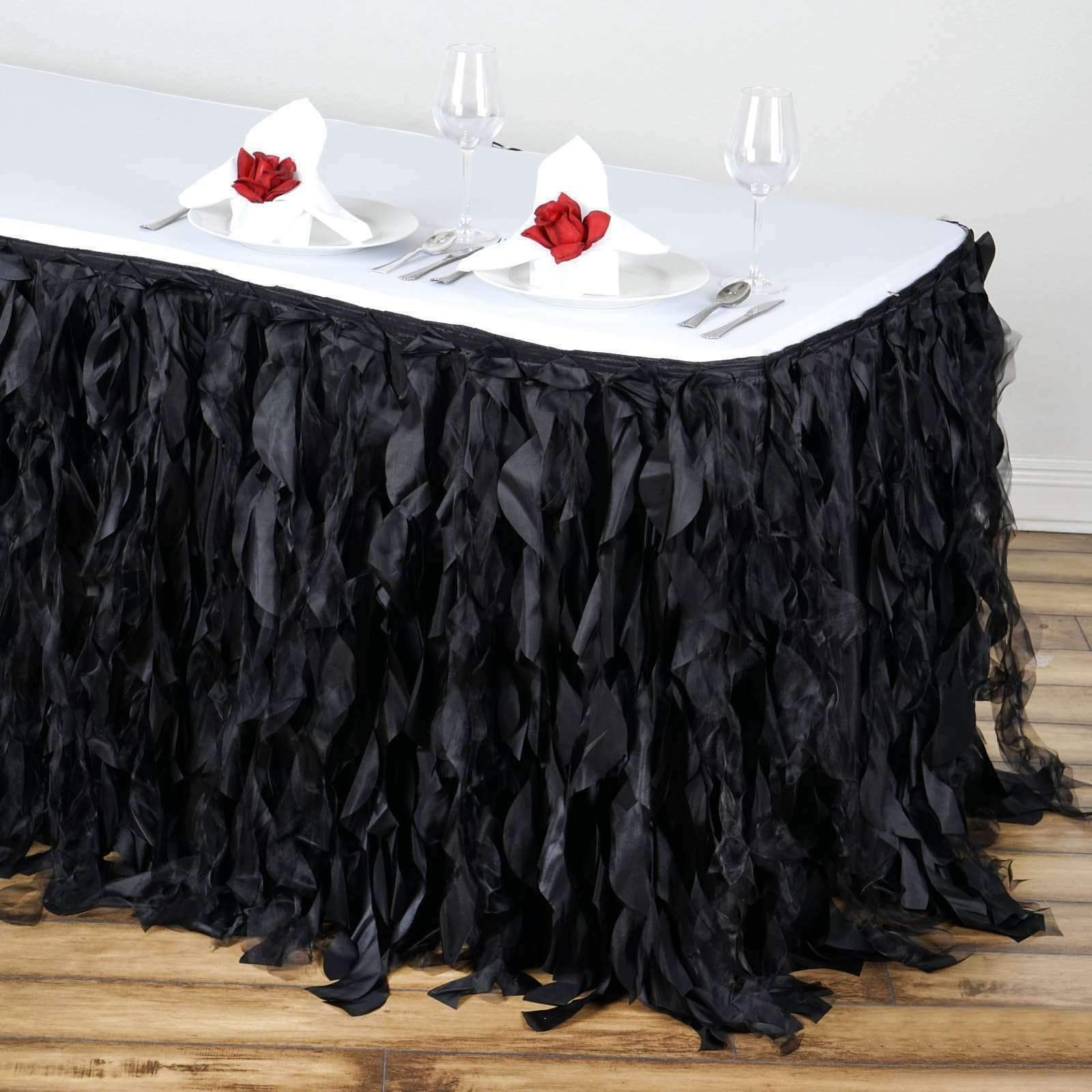 17 Ft Long x 29  Tall Curly Willow Taffeta Table Skirts Wedding Birthday Party