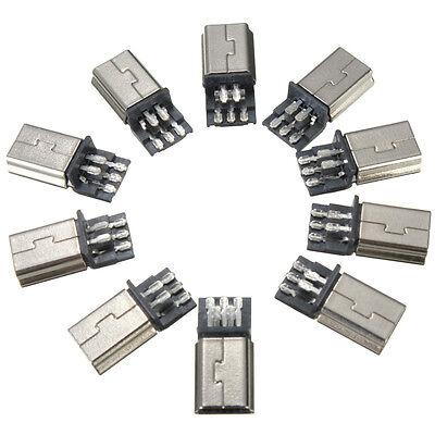 10Pcs Mini USB Type 5Pin Male SMT SMD Plug Socket Jack Connectors Metal Silver