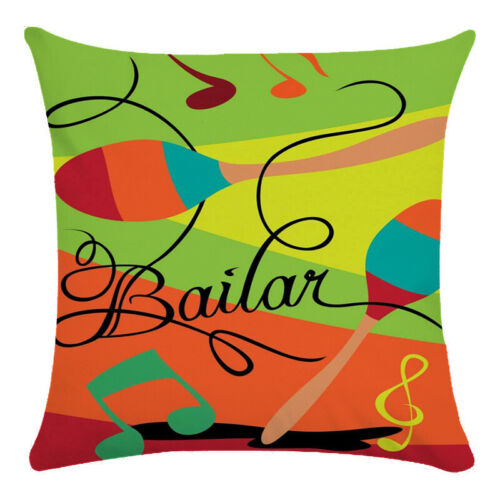 Cojines Musical Guitar Instruments Throw Pillow Case Soft Linen Cushion Cover