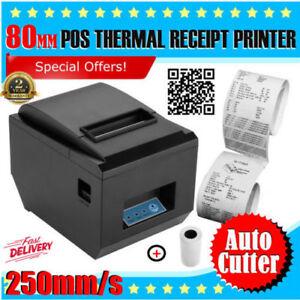 80mm 250mm/S Thermal Dot Receipt Printer AUTO-CUT ESC/POS USB Black + Paper Roll 657419542883