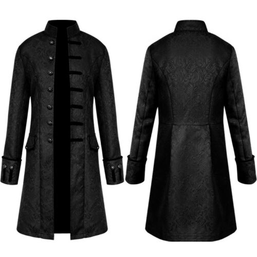 Retro Men Gothic Tailcoat Jacket Victorian Steampunk Party Frock Coat Size S-4XL