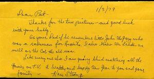 Ken Strong Jsa Signed Handwritten Letter Autograph Authentic