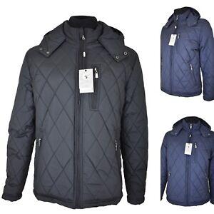 Giubbotto da uomo invernale giacca nero blu giubbino giubotto con cappuccio l xl