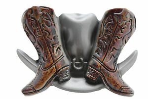 614205783a17 Western Cowboy Hat and Boots BELT BUCKLE Texas cowboy Gift cowgirl ...