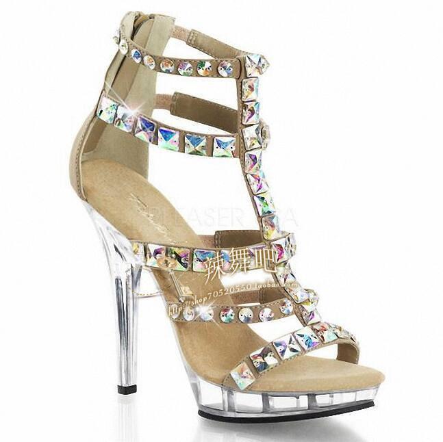 Sexy donna Roman Stilettos High Heel Heel Heel scarpe Back Zip Rhinestone Sandals US4.5-12 aae291