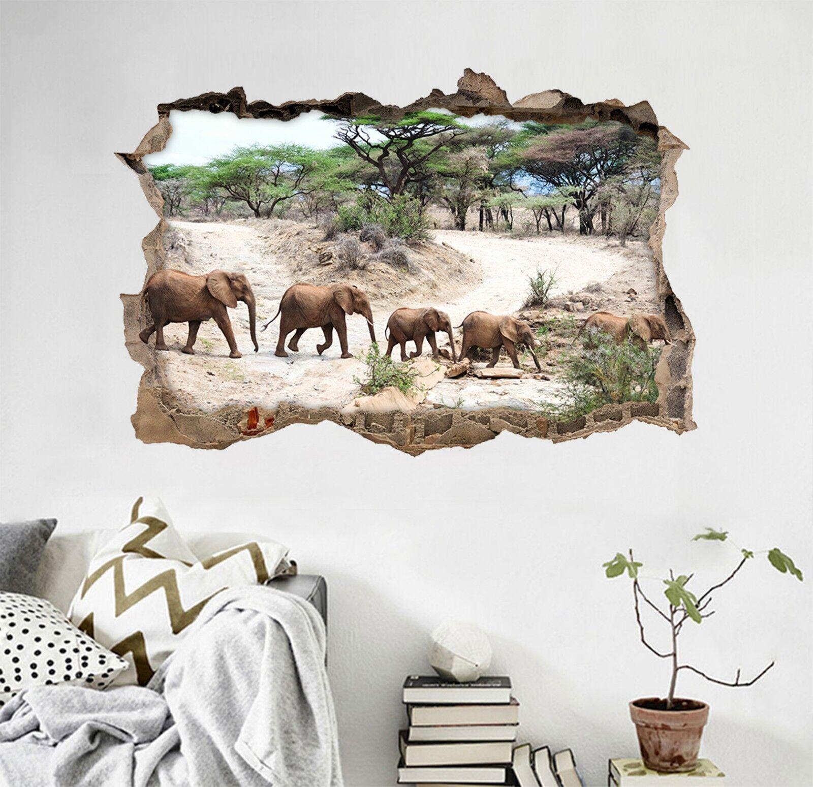 3D Trekking Elefanti 16 Parete Murales Adesivi Decal Sfondamento AJ WALLPAPER IT