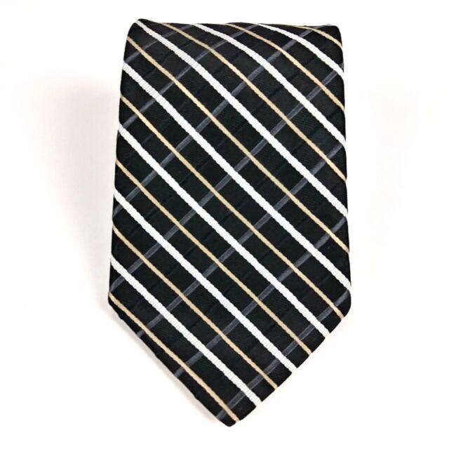 55cc8802 Tommy Hilfiger Designer Silk Necktie Two Tone Navy Blue Black White Striped  Tie