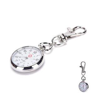 Stainless-Steel-Quartz-Pocket-Watch-Cute-Key-Ring-Chain-Gift-HGUK