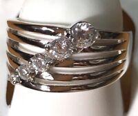 Diamonique Graduated Five Stone Multi Row Band Ring Sterling Silver In A Size 7