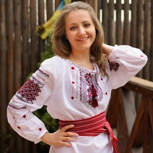 S size Vyshyvanka ukrainian blouse with mexican embroidery Embroidered custom shirt Linen loose blouse top with oversized sleeve