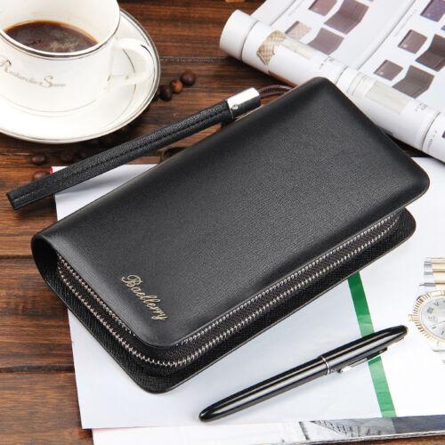 Business Men/'s Leather Clutch Wallet Handbag Long Purse Zipper Card Holder Bag