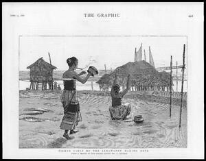 1886-Antique-Print-INDIA-Burma-Irrawaddy-Fisher-Girls-Nets-Villiers-68