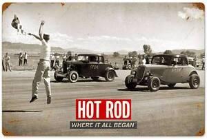Man Cave Garage Magazine : Hot rod magazine drag racing metal sign man cave garage shop barn