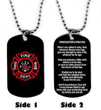 DOG TAG NECKLACE - Fireman Firefighter 2 Fire Prayer Hero Rescue Jesus God