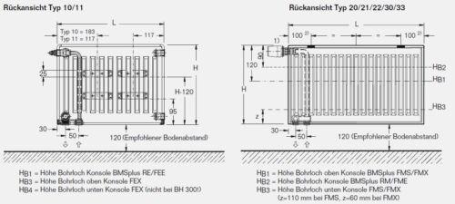 Buderus VALVOLA RADIATORE tipo 22 500x1000 SUPPORTO CON TAPPO U.